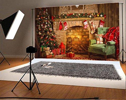 YongFoto 2,2x1,5m Foto Hintergrund Weihnachten Vinyl Weihnachtsdekoration Baumschmuck Kamin Strümpfe Geschenke Sofa Innere Fotografie Hintergrund Foto Leinwand Kinder Fotostudio 7x5ft -