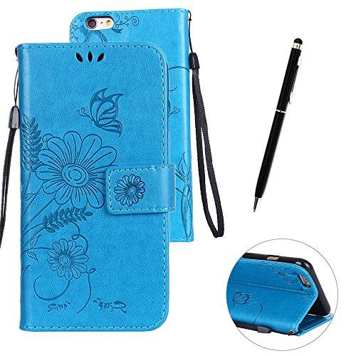 Custodia in pelle per iPhone 6 Plus,per iPhone 6S Plus Cover, Zcro Stile Elegante di Cuoio Magnetica Flip del Libro Fiori Farfalla Custodia Portafoglio Case con Titolare della Carta Cinturino Nero Gra Blu