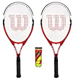 Wilson - 2 racchette da tennis modello Federer per adulti + 3 palline da tennis, ., bianco