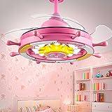 XHOPOS HOME Deckenventilatoren Cartoon Zimmer der Kinder Jungen Mädchen Schlafzimmer Prinzessin Ruder Rosa 36