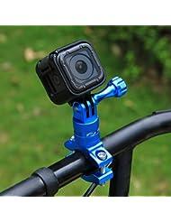 Puluz Rotation de 360degrés pour vélo en aluminium adaptateur de guidon support de fixation avec vis pour GoPro Hero5Session/5/4Session/4/3+/3/2/1, Xiaoyi Sport Camera, bleu