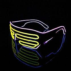 Gafas de luces bicolores Lerway, luces LED, gafas brillantes, divertidas, con caja de control de sonido para fiesta de disfraces, noche de pub, bar, disfraz de los noventa, ochenta o setenta, Gelb + Rosa, Schwarz Rahmen