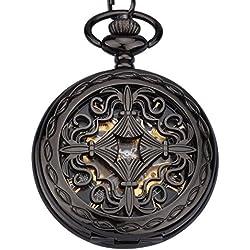 ZEIGER Herren Taschenuhr Analog Mechanisch Handaufzug Uhr Skelett Taschenuhr Armbanduhr Herren Uhr W346