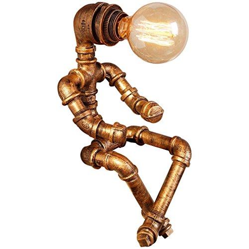 GRFH American personalidad creativa de hierro Industrial Loft estilo de café de la barra de tubos Robot lámpara de cumpleaños de los niños de escritorio Lámparas regalo de luz