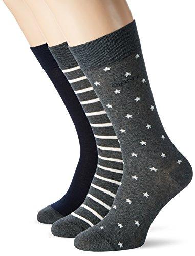 GANT Herren O 3-Pack Stars & Stripes Socks Grau (CHARCOAL MELANGE 90)