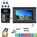 Campanello video Wi-Fi cablato/wireless da 7 pollici, sensore di password RFID per impronte digitali con videocamera HD Night Vision, Citofono APP remoto, sblocco,1+1