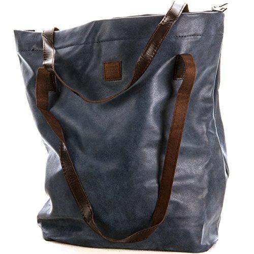 Schultertasche Shopping Bag Vintage Tasche Shopper mit Henkel Handtasche TOP TREND (Blau) (Wildleder Handtasche Vintage)