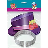 Mad Hatters Tea Party Top Hat Tiaras, Pack of 4