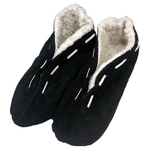 Warme Herren-Hausschuhe für den Winter - Pantoffeln mit Anti-Rutsch-Sohle und dickem Fell - Leder-Puschen, Hüttenschuhe Hellbraun