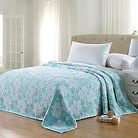 MVW Fondo Azul Flor Blanca Toalla Toalla Manta Colcha sábanas de algodón de Primavera para Adultos