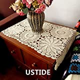 Ustide Rustic Floral Table Runner Hand Crochet Table Placemats Beige Cotton Table Doilies Runners,1PC By USTIDE
