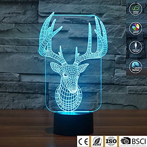 3D Illusion Lamp jawell Night Light Santa Claus Reindeer 7 Changing Colors Touch USB Table Nice Gift Toys Decorations