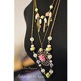Grande collana 3 in 1, rosa perle di vetro verde, pendente cabochon rosa tenue, finitura bronzo