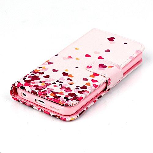 iPhone 5C Handytasche, Felfy Ultra Slim Flip für / Apple iPhone 5C / Leder Etui Ledertasche Schutzhülle Case Cover / Relief Schön Rosa Rose Blume Stil / 1x Rosa Flower Anti Dust Plug / 1x Pink Stylus Love Heart