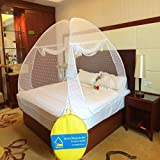 #6: Verdioz White Embroidery Poly Cotton FOLDABLE Mosquito Net (Double Bed) with 3 FREE SAVIOURS - White
