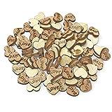 Wedding Touches Mini-Holzherzen mit Gravur Love – Shabby Chic Craft Scrapbook Vintage Konfetti Love Hearts 10 mm, Holz, beige, 10 mm
