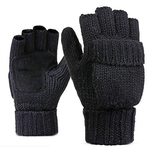 LvLoFit Natürlich Wolle Strick Handschuhe Leger Palme Fingerlos mit Fingerschutz Warme Gestrickt Winter Gloves für Damen Herren (Schwarz)