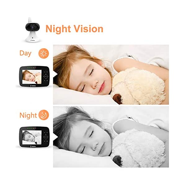 """MiniBoss Baby Monitor with Camera Video Audio Monitor 3.5"""" LCD Screen Temperature Sensor Night Vision Lullaby Two-Way Talk  【Wireless & Secure Connection】The baby monitor equipped with 2.4GHz digital frequency provides security and interference-free connection without any network access. 【Upgraded Camera & VOX Function】The video baby monitor offer high definition and stable audio video streaming to last 7 hours per fully charged. It covers a long distance transmission range of up to 960 feet, and expandable up to 4 cameras for simultaneous monitoring. 【Two-way Talk & Lullabies】The audio baby monitor has advanced built-in microphone and speaker for clear two-way audio conversations between the wireless monitor and camera sides. Allows you to talk back promptly or play lullabies to soothe baby when she is crying. 13"""
