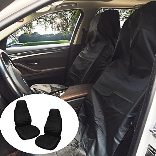 Schonbezug Autositz, KOROSTRO Universal Auto Sitzabdeckung Vordere Autositzbezug Schutz 2 PCS, nylon Wasserdicht Staubdicht Auto Schonbezug (Schwarz)