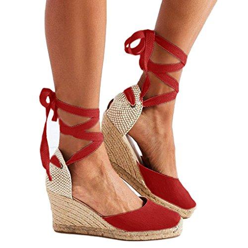 Minetom scarpe zeppa corda donna sandali zatteroni cinturino ec scamosciata borchie 8-58 rosso eu 34