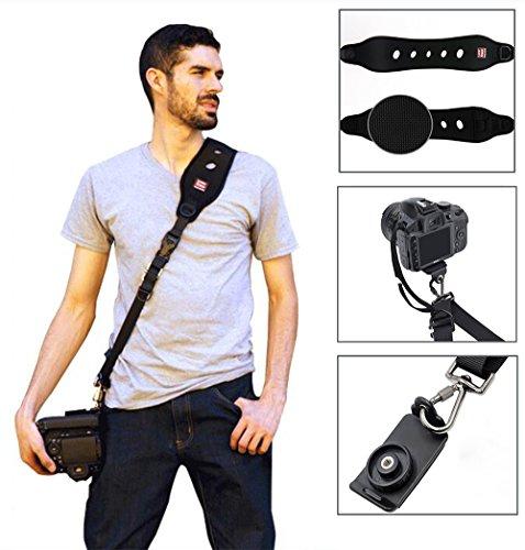 Motionjoy Professionelle Kamera Schultergurt Kit, Quick Rapid Schulter Sling Strap Kameragurt mit Montageplatte und Sicherungsseil für Alle DSLR SLR Kamera - Schwarz