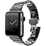MPTECK @ 42mm Noir Black Bande Montre Bracelet Watch Strap Rechange Double Boucle Inoxydable pour Apple Watch APPLE WATCH Apple Watch Séries 1 Series 2