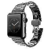 MPTECK @ 42mm negra Correa de Reloj Banda de Acero Inoxidable Sólido Con Hebilla Reemplazo Repuesto para Smartwatch Apple Watch APPLE WATCH II Apple Watch Serie 1 Series 2