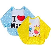 Lictin 2 Pzas Unisex Babero Impermeable Fibra de Poliéster con TPU de Manga Larga, Para Bebé 6 meses -Niños/niñas 3 Años,con Patrón de Girafa y Te amo Mama