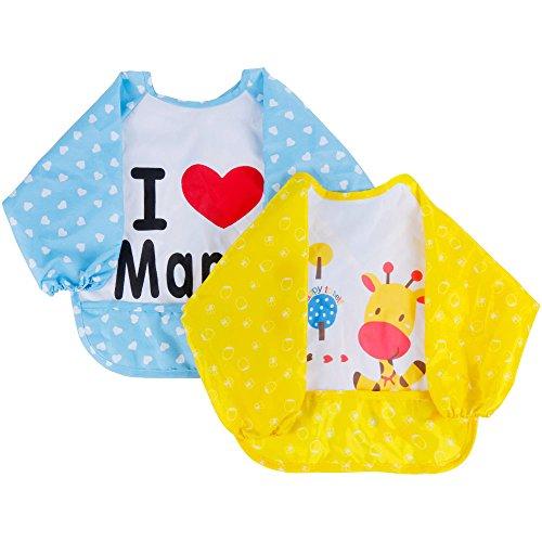 Lictin-2-Pzas-Unisex-Babero-Impermeable-Fibra-de-Polister-con-TPU-de-Manga-Larga-Para-Beb-6-meses-Niosnias-3-Aoscon-Patrn-de-Girafa-y-Te-amo-Mama