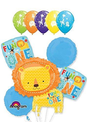 10 pc Fun to be One Lion Animal Balloon Bouquet Party Boy Happy 1st Birthday by Jeckaroonie Balloons