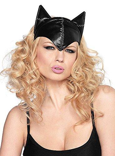 Haarreif mit Katzenohren aus Stoff im Lederlook - schwarz - Einheitsgröße (Cat Woman Maske)