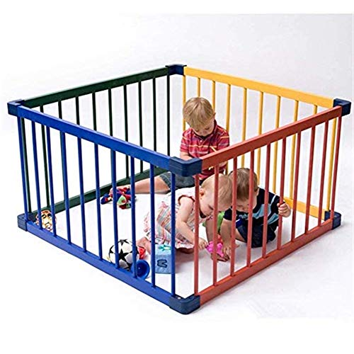 4-panel-holz-türen (Cylficl Kinder/Kind 4 Panel Holz Laufstall, Tragbare Baby Laufstall, Einfach Zu Montieren, Regenbogen Farbe)