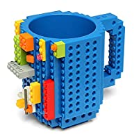 Lego Style Coffee Mug, Creative DIY Build-on Brick Mugs, Gift Toy Mugs for Kids & Adults Office Work Adult Employee Boss (Blue)