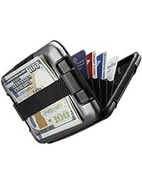 Cartera SHARKK RFID Protección Aluminio Cartera con caja de banda resistente al agua cartera titular de la tarjeta (Gray)