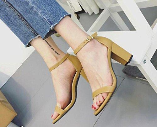 Amarelo Eu Toe De Sapatos Tornozelo Rom Sandálias Aberto Robusto Gengibre Femininos Fivela Calcanhar Simples Tamanho Pulseira 35 Meados 39 Cinto XqEfwZnxWH