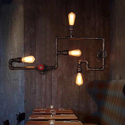 Nordic Rétro Style Industriel Lampe Murale Creative Fer Pipe Applique Restaurant Bar Club Loft Lampes Décoratives, Source de Lumière E27 * 4, Taille 84 * 30 cm