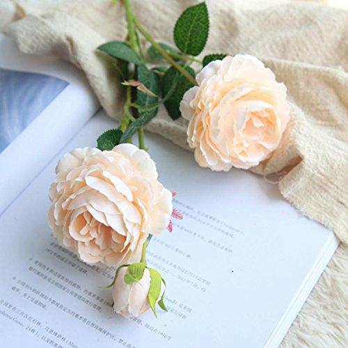 Longra Künstliche Seide gefälschte Blumen Pfingstrose Kunstblume Blumenstrauß Blumen-Bouquet Bridal Bouquet Blume Hochzeit Home Party Dekoration 5 Köpfe Bouquet (C01:1 * Pfingstrosen)