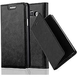 Cadorabo Coque pour Samsung Galaxy A3 2015 en Noir Nuit - Housse Protection avec Fermoire Magnétique, Stand Horizontal et Fente Carte - Portefeuille Etui Poche Folio Case Cover