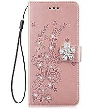 Coque Etui Housse pour Samsung Galaxy J5,Galaxy J5 Coque en Cuir Etui à Rabat Cover Flip Case Portefeuille Pu,Paillette Strass Brillante Bling Glitter de Luxe Coque Fleur de cerisier,Rose Gold