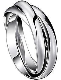 JewelryWe Gioielli Moda tono acciaio inossidabile tre anelli interbloccate Anello uomo donna matrimonio