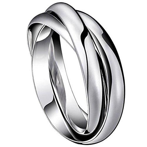 Edelstahl Ringe Wickelring Silber mit O Kette für Männer Frauen Herren Bandring Ehering Trauringe Weihnachten Hochzeit Engagement Geschenk 65 (20.7)