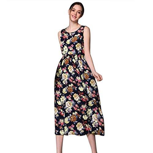 Bluestercool Femmes Robe Bohemia Sans manches Imprimé floral longues Robe décontractée de plage Noir 2