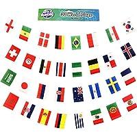 World of Bunting Coupe du monde de football fanions Russie 2018Football Bannière drapeaux Tissu 10m avec tous les 32équipes