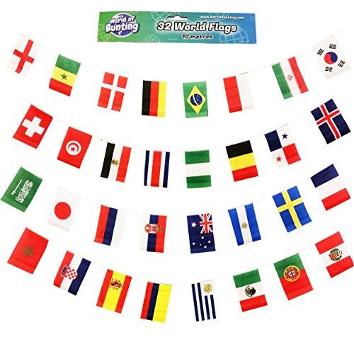 WM 2018 Fußball Fahnenkette Weltmeisterschaft Banner Dekoration alle 32 Nationen, Länge 10m Große Fahnen