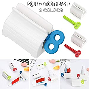 JIEHED Rolling Tube Toothpaste Squeezer Novel Rotate Handle Dispenser Super Convenient Saver Multipurpose Sucker Easy Plastic Stand Holder for Bathroom