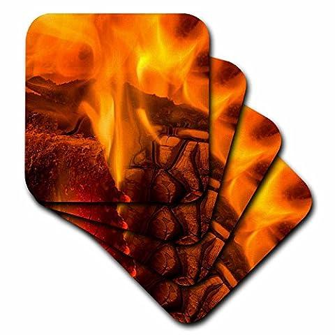 3dRose cst_205252_3 Fire in Fireplace, Maine Ceramic Tile Coasters, (Set