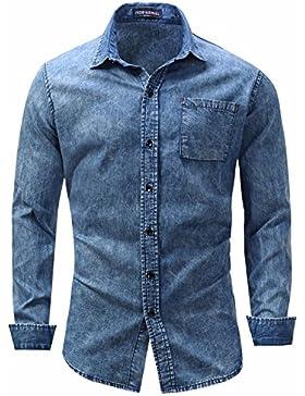 Camicie da uomo bavero di camicia a maniche lunghe in puro cotone Camicia Denim