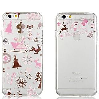 aroncent iPhone 6Plus 6S Plus Fall 0,1cm Ultra Thin Transparent TPU Weiche Schutzhülle Merry Christmas Santa Claus Neuheit–2Pack