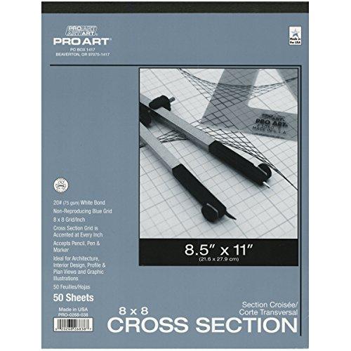 Pro Art 8–1/2Zoll by 27,9cm Querschnitt Papier Pad, 8 Squares per-Inch