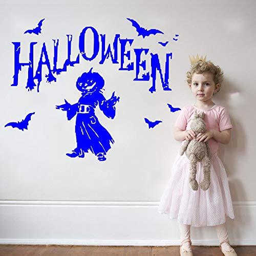 nkfrjz Halloween Party Wandaufkleber Kürbis Fliegende Fledermäuse Mit Mann Silhouette Wandtattoos Home Schlafzimmer Kunst Dekor Für Halloween 46x58 cm